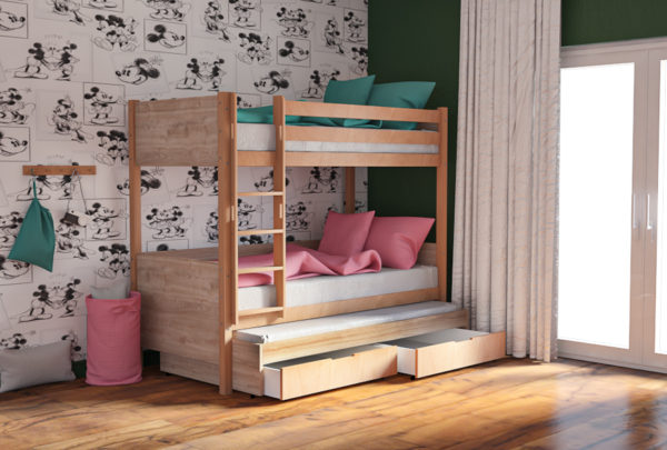 Παιδικό Κρεβάτι Κουκέτα για 2 ή 3 Παιδιά με Συρτάρια